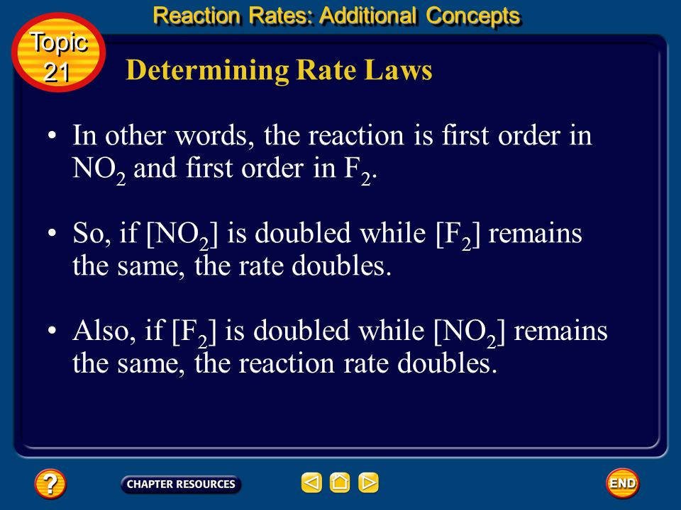 So, if [NO2] is doubled while [F2] remains the same, the rate doubles.
